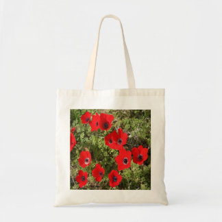 Red Wild Anemone Flowers Tote Bag