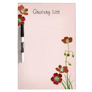 Red Wildflower Reminder List Dry Erase Whiteboards