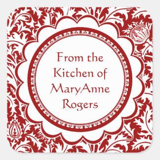 Red William Morris Canning Jar Food Labels