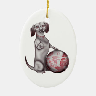 Red Willow Dachshund Ceramic Ornament
