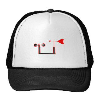 Red Wind Speed and Weather Vane Trucker Hat
