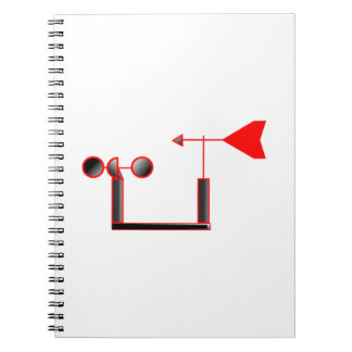 Red Wind Speed and Weather Vane Spiral Notebooks