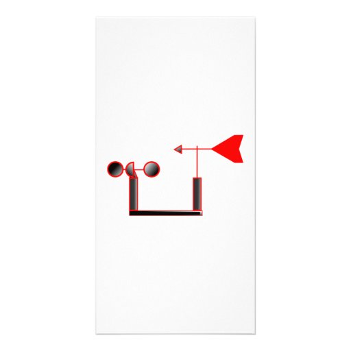 Red Wind Speed and Weather Vane Photo Card Template