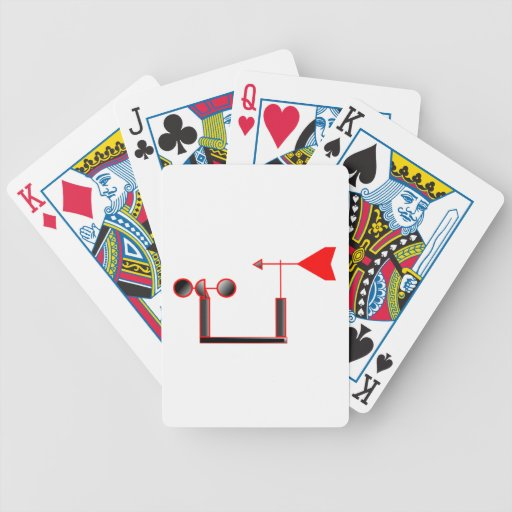 Red Wind Speed and Weather Vane Poker Cards