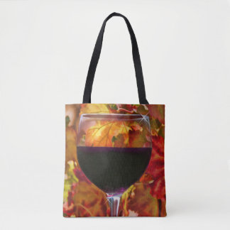 Red Wine and Autumn Leaves Tote Bag