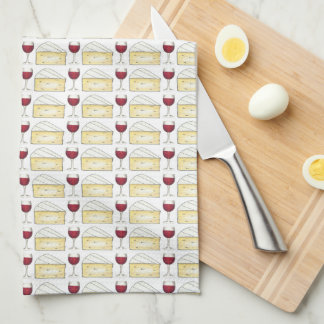 Red Wine and Brie Cheese Print Pattern Food Towel