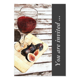 Red wine and figs wine tasting reception invite
