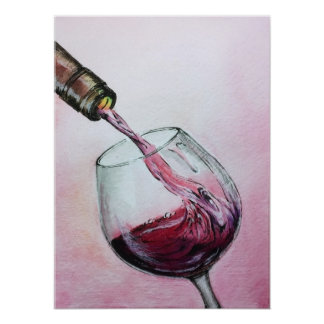 Red Wine Art Poster Watercolor Painting Kitchen