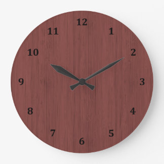 Red Wine Bamboo Wood Grain Look Large Clock