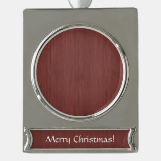 Red Wine Bamboo Wood Grain Look Silver Plated Banner Ornament