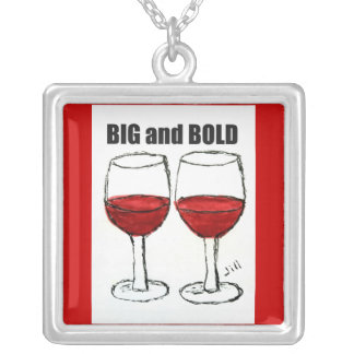 "RED WINE ""BIG & BOLD"" PRINT SQUARE PENDANT NECKLACE"