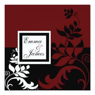 Red Wine Black White Wedding Custom Invites