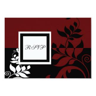 "Red Wine Black White Wedding RSVP 3.5"" X 5"" Invitation Card"
