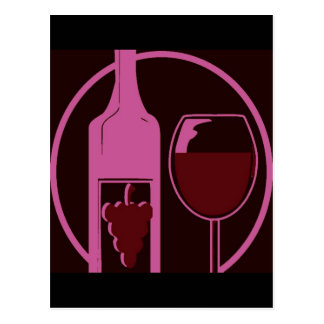 Red Wine Bottle and Glass Postcard