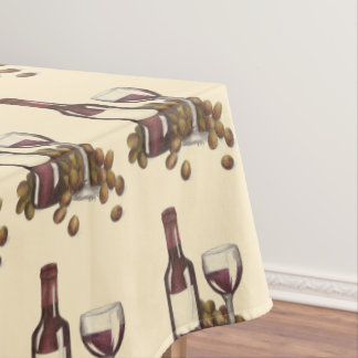 Red Wine Bottle Glass Grapes Winery Print Pattern Tablecloth