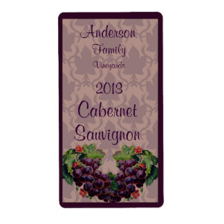 Red Wine Bottle Label with Grapes