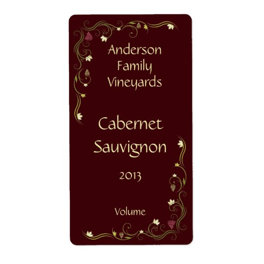 Red Wine Bottle Label with Grapevine Accent Shipping Label