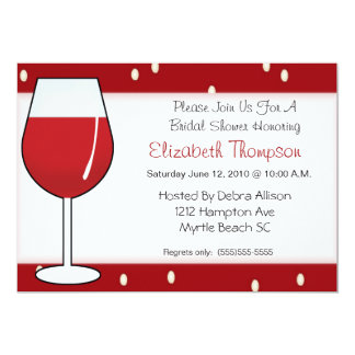 Red Wine  Bridal Shower Invitation