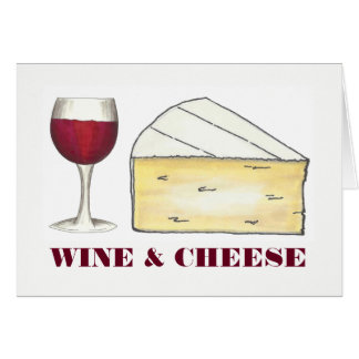 Red Wine & Brie Cheese Merlot Cabernet Glass Food Card