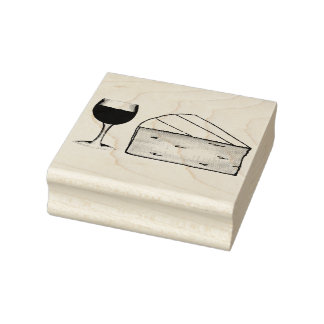 Red Wine & Brie Cheese Merlot Cabernet Glass Food Rubber Stamp