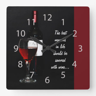 red wine glass and bottle square wall clock
