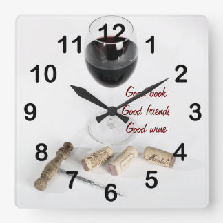 Red wine glass and corks square wall clock