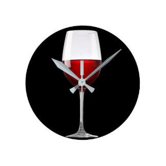 Red Wine Glass Black Drinks Winery Round Clock