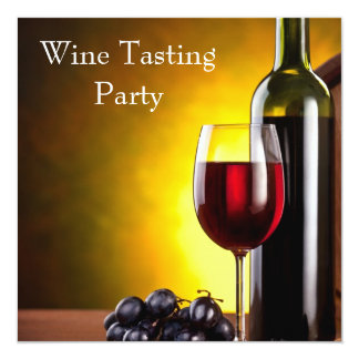 Red Wine Glass Bottle Wine Tasting Party 13 Cm X 13 Cm Square Invitation Card