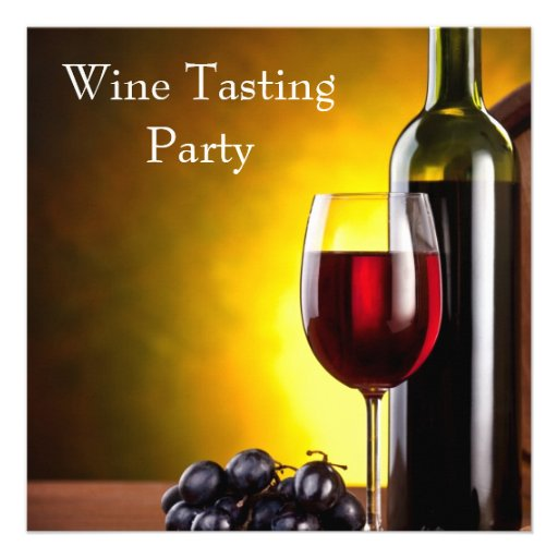Red Wine Glass Bottle Wine Tasting Party Announcement