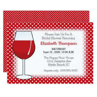 Red Wine Glass Bridal Shower Invitation