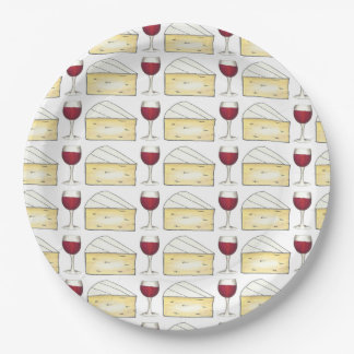 Red Wine Glass Brie Cheese Cocktail Party Plates