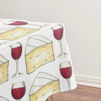 Red Wine Glass Brie Cheese Foodie Print Tablecloth