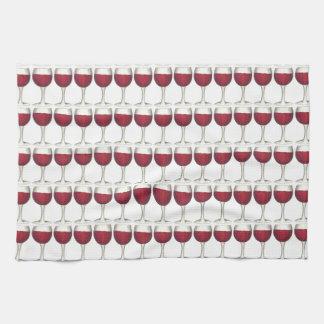 Red Wine Glass Merlot Print Pattern Glasses Towel
