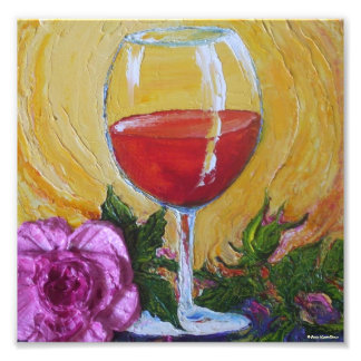 Red Wine Glass & Pink Rose Fine Art Poster Photographic Print