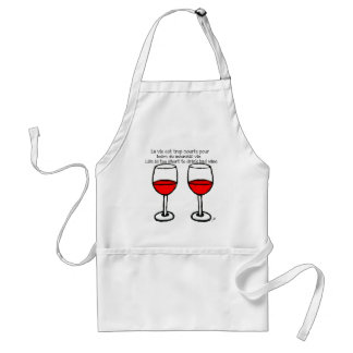 RED WINE GLASSES WITH FRENCH ENGLISH QUOTE STANDARD APRON