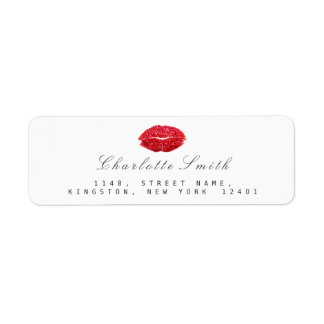 Red Wine Glitter Lips Kiss Makeup White  RSVP Return Address Label