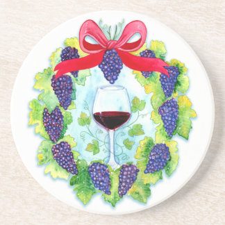 Red Wine Grapes Holiday Wreath with Wine Glass Sandstone Coaster