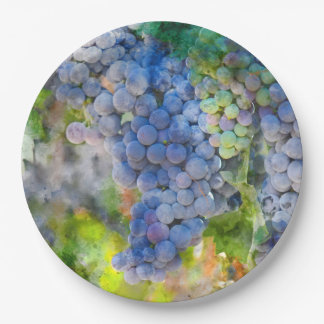 Red Wine Grapes in the Vineyard Paper Plate
