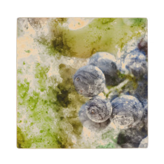 Red Wine Grapes in the Vineyard Wood Coaster