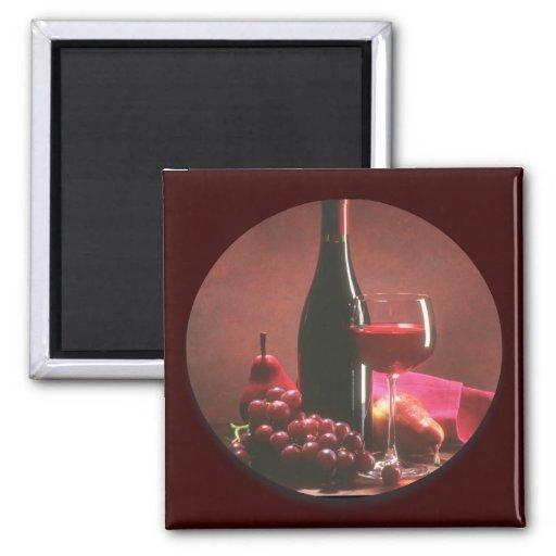 Red Wine & Grapes Fridge Magnets