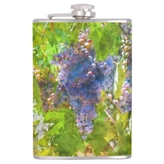 Red Wine Grapes on the Vine Hip Flask