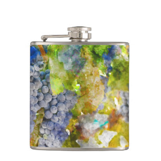 Red Wine Grapes on Vine Flask
