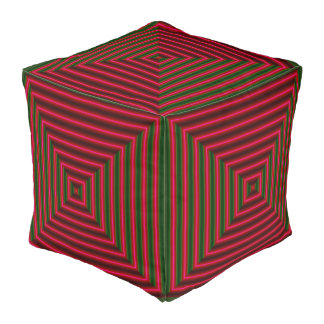 Red Wine & Green Striped Designer Pouf-Home Decor Pouf