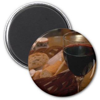Red Wine In An Italian Restaurant 6 Cm Round Magnet