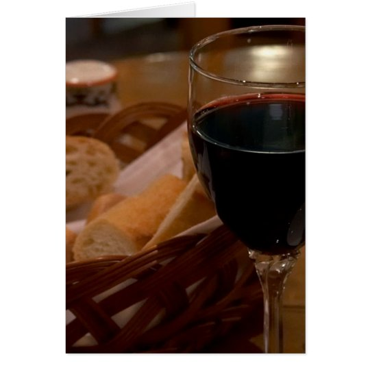 Red Wine In An Italian Restaurant Card