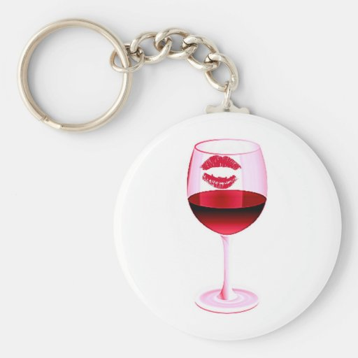 RED WINE IN PINK GLASS WITH LIPSTICK KEYCHAINS