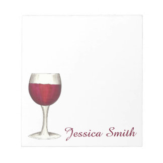 Red Wine Lover Glass Winery Personalized Notepad