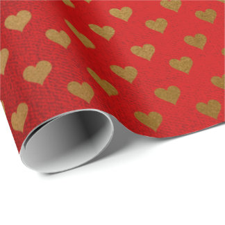 Red Wine Passion Love Golden Heart Confetti Wrapping Paper