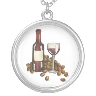 Red Wine Tasting Bottle, Grapes, Glass Necklace