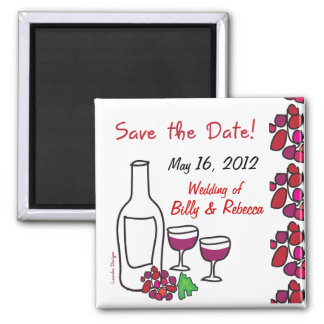 Red Wine Vineyard Wedding Save the Date Magnet